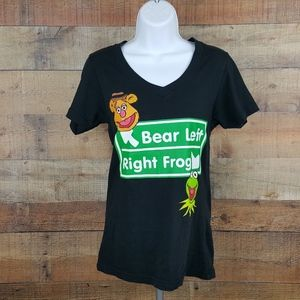 Disney V Neck T-Shirt Kermit Fozzy Women's Size M